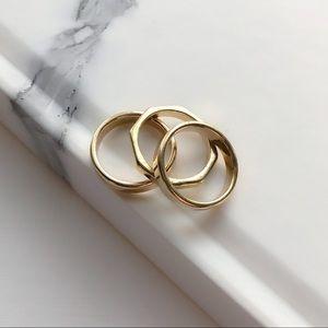 Set Of 3 Gold Stacking Rings